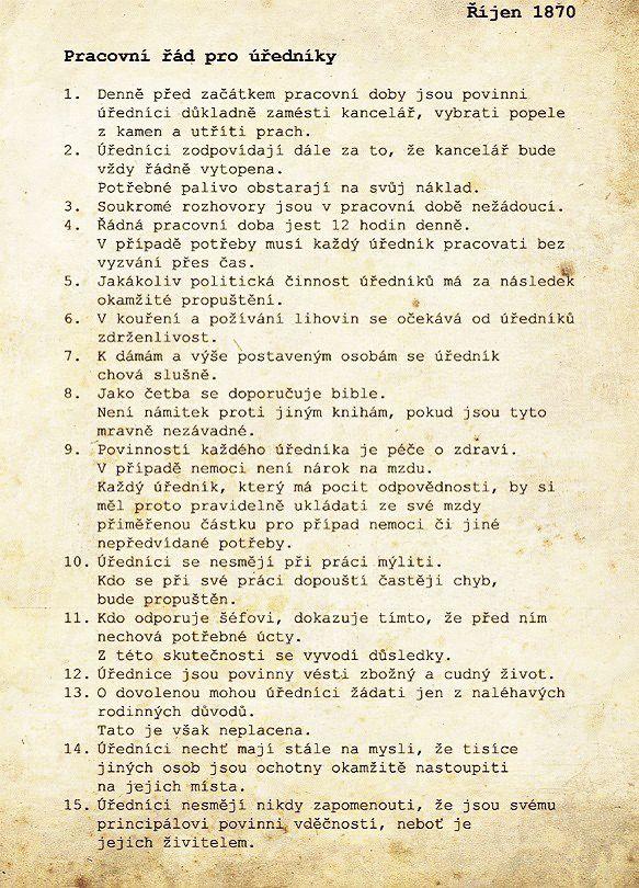 Pracovní řád z roku 1870