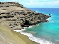 Green Sand Beach, ostrov Big Island, Havaj, USA