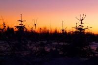 Západ slunce na krkonošských hřebenech