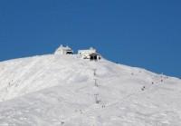 Vrchol Sněžky z Pece pod Sněžkou