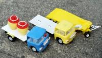 Plastové náklaďáky, modrý a žlutý Kamas z Bulharska za cenu 1,32 leva
