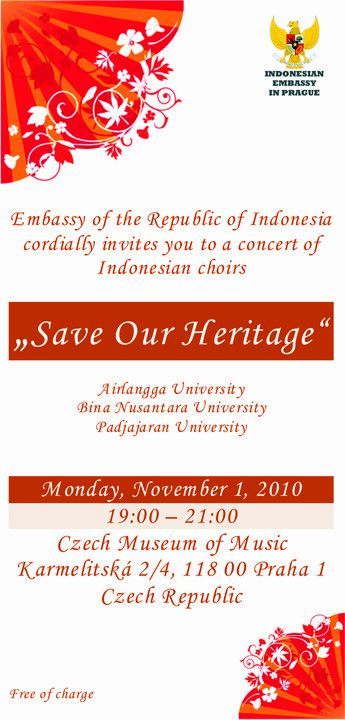 Invitation to concert of three Indonesian choirs Save Our Heritage