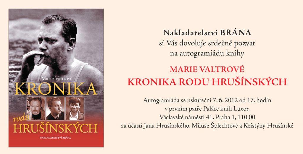 Pozvánka na autogramiádu knihy Kronika rodu Hrušínských