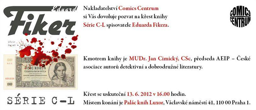 Pozvánka na křest knihy Série C-L Eduarda Fikera