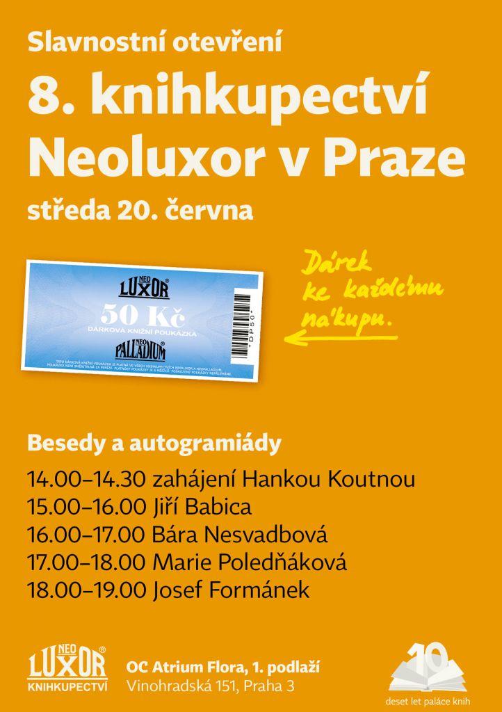 Pozvánka na slavnostní otevření nové pobočky knihkupectví Neoluxor v Praze
