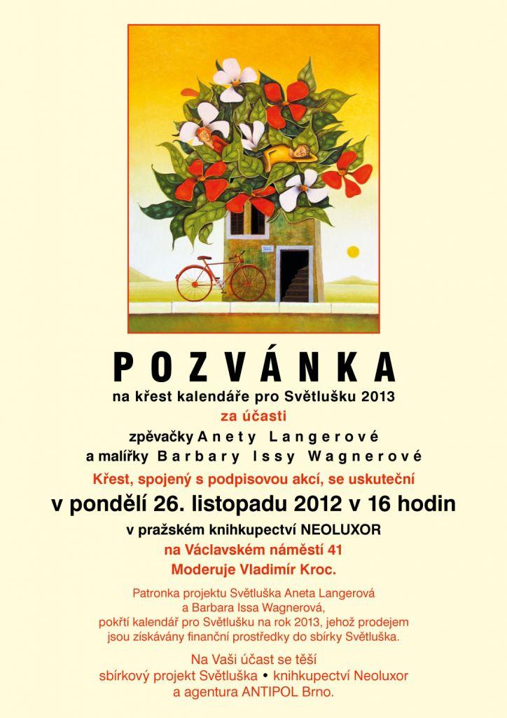 Pozvánka na křest kalendáře Světluška 2013 za účasti Anety Langerové