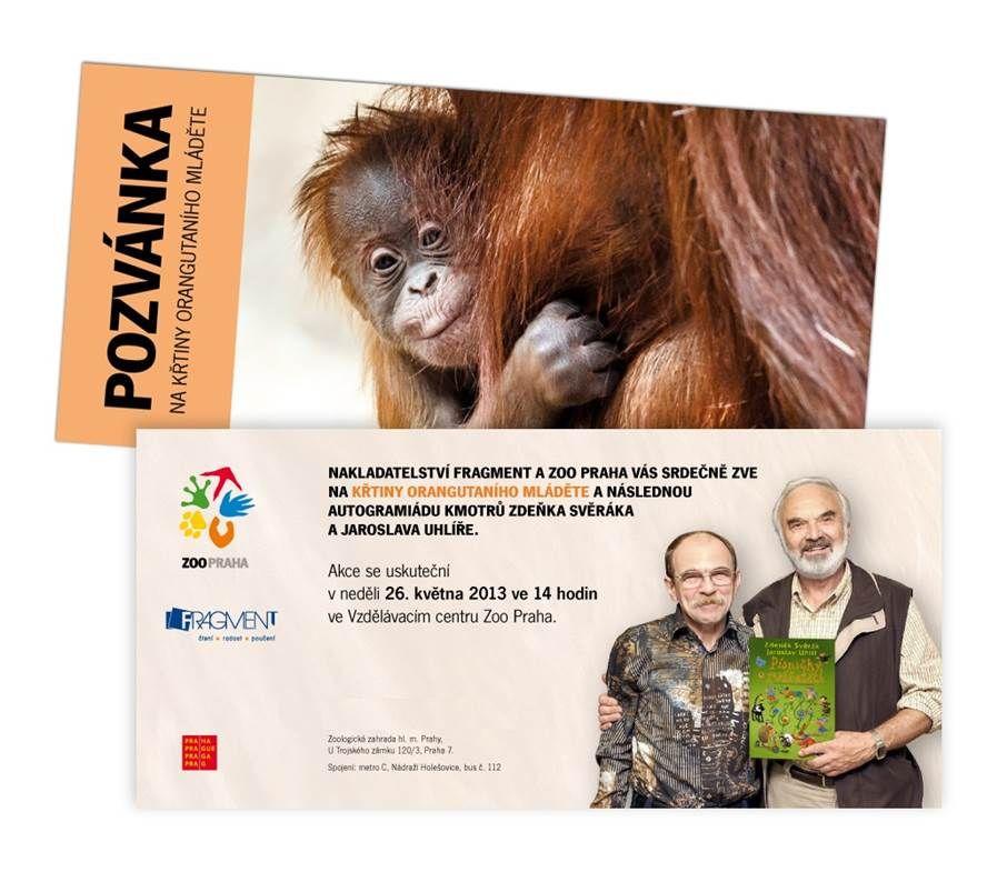 Pozvánka na křtiny a autogramiádu Zeňka Svěráka a Jaroslava Uhlíře v Zoo Praha