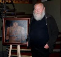 Ivo Pešák s autoportrétním Golemem