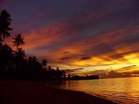 Polynéská imprese zapadajícího slunce