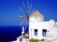 Modrobílý ostrov Santorini